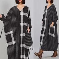 ZANZEA Womens Loose Baggy Long Maxi Dress Casual Long Sleeve Kaftan Shirt Dress