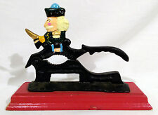 Paul Revere Soldier Cast Iron Nut Cracker Red Wooden Base