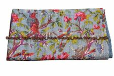 Indien bird kantha quilt cotton hippie bohemian handmade queen bedding bedspread