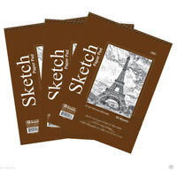 "Lot of 3 Sketch Book Paper Pad 50 Sheet 6"" x 8"" High Quality Spiral Premium Qty"