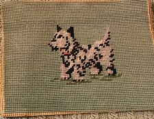 Vtg Hiawatha Heirloom Crewel Needlepoint Tapestry Finished-Small Terrier Dog 9x7