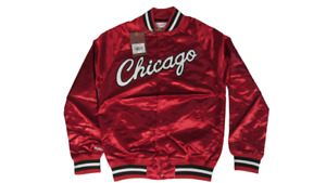 New Chicago Bulls Mens Sizes Mitchell & Ness Red Satin Button Snap Jacket $110