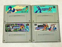ROCKMAN 7 X X2 X3 Mega Man Lot 4 Nintendo SFC Super Famicom Japan SNES NTSC-J