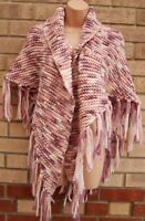 PINK LILAC WHITE KNIT CROCHET KNITTED TASSEL FRINGED PONCHO CARDIGAN JUMPER M L