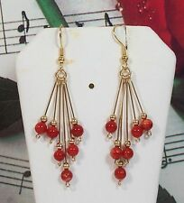 Genuine Mediterranean Coral Earrings, 14k gold filled. ITCRER001