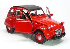 Citroen 2CV Ente Modellauto 1:34  WELLY Spritzguss ca. 12cm rot / geschlossen