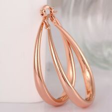 18K 18CT Yellow/Rose Gold Filled GF Oval Hoop Woman Wedding Earrings E557
