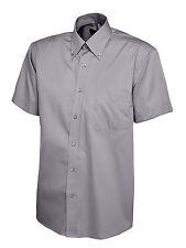 Uneek Uc702 Mens Pinpoint Oxford Half Sleeve Work Shirt Charcoal M