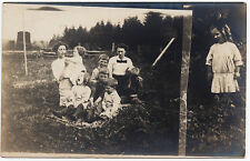 1906-15 RPPC Odd Funny Family Portrait Comical Picnic Girl Real Photo Postcard