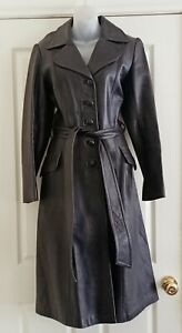 Vintage P&K Hawthorn Long Leather Trench Coat Size 12 Belted