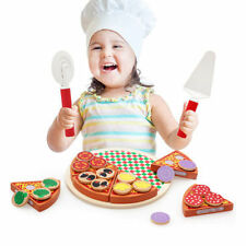 Wooden Pizza Play Food Set Wooden Toy Kids Pretend Kitchen Childrens Cooking AY