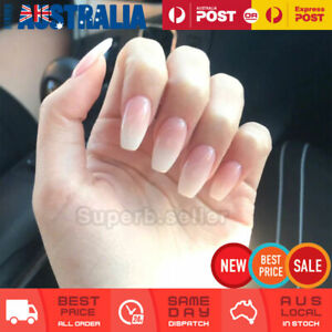 24pc White Natural Coffin Fake Nail Tips Glue On False Press On Artificial NEW
