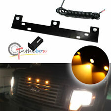 Amber LED Grille Lights Kit w/ Mounting Bracket Raptor Style For 09-up Ford F150