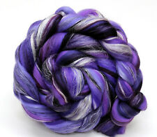 Merino Wool Silk Blend Combed Top Roving Purple 100g