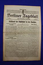 BERLINER TAGEBLATT (18.2.1917): Stillstand der Schiffahrt in der Nordsee
