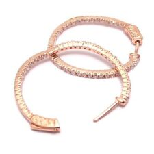 White CZ One Row Rose Gold-Tone Sterling Silver Hoop Pierced Earrings 30mm