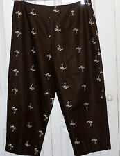 size 14 brown palm tree beach cruise tropical cropped pants capris resort
