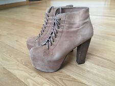 Jeffrey Campbell Lita Taupe Suede Platform Heeled Lace-Up Bootie, Size 8.5