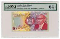 LESOTHO banknote 10 MALOTI 1990. PMG MS-64 EPQ