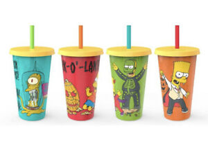 Zak The Simpsons 4-Pack Glow In The Dark Tumbler Cups Reusable Halloween Edition