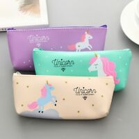 Unicorn Pencil Case Kawaii School Supplies Cosmetic Pouch Stationery Zip Bag UK
