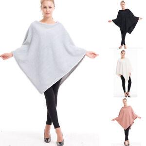 Lady Poncho Stole Cape Shrug Wrap Shawl Jacket Jumper Sweater Top Blouse Winter