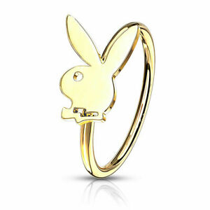 Playboy Bunny Bendable Hoop 316L Surgical Stainless Steel 20 GA Nose Ring