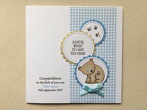 Handmade Personalised New Baby Boy Card Bear