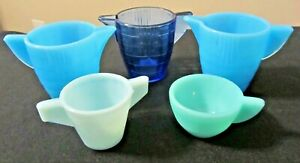 Akro Agate 5 Piece Turquoise Cobalt Pastel Blue Children's Teapots Cup Sugar