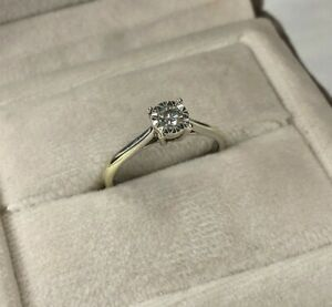 9ct White Gold Diamond Engagement Ring UK Hallmarked 375 Size L Great Condition!