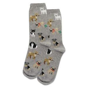 Dogs of the World Hot Sox Women's Crew Socks Grey New Novelty Bark Fashion