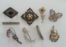Lot Bijoux Vintage 9 Broches Papillon Oiseau Fleur en Métal et Strass