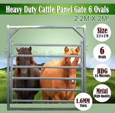 2.2M x 2M Heavy Duty Portable Cattle Yard Gate 6 Oval Bars 1.6mm Thick BNE