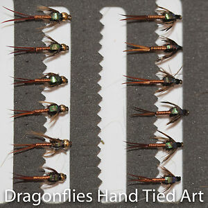 12 Gold Head & Standard Copper john Nymphs Trout Fishing Flies Dragonflies