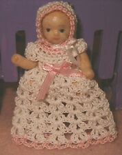 Pretty Handmade Crochet Miniature Doll Dress with Bonnet