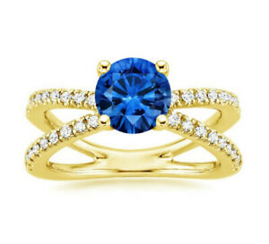 2.00 Ct Round Natural Sapphire Diamond Engagement Ring 14K Yellow Gold Size K L
