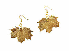 Earrings, French Wire Dangle Hooks, Medium Sugar Maple Real Leaf 24k Gold Plated