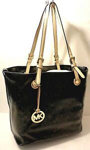 Michael Kors Black MK Logo Prnt Leather Tote Office Shoulder Purse Bag Tag Charm