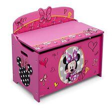 Pink Toy Storage Chest Bin Organizer Box Trunk Girls Kids Bench Minnie Mouse New