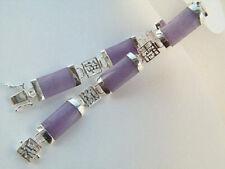 Lavender Purple Jade Silver Fortune Link Clasp Bangle Bracelet