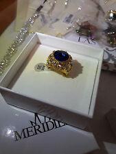 Anello da Uomo Placcato Oro con pietra Blu Zaffiro, Nuovo