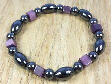 * Freedom Tree * Hematite & Purple Catseye Bead Bracelet Magnetic Healing