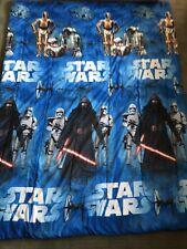 """Star Wars Twin Bedspread Appr 64"""" X 86"""" Reversible Blue, White"""