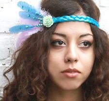 GATSBY 20S BLUE FEATHER HEAD DRESS BAND FESTIVAL BRIDAL FAIRY PIXIE PARTY