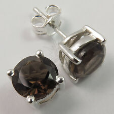 Hot Fashion Stud Earrings Real SMOKY QUARTZ Gemstones 925 Solid Sterling Silver