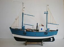 "Old Style Wooden Model Fishing Boat 18"" Offshore Fishing Vessel On Cradle"