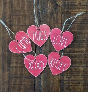 Valentine's Day Farmhouse Rustic Ornaments Set Of 5 Red Distressed LOVE HUGS...