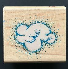 Mini Puffy Fluffy Cloud Symbol Rubber Stampede Wood Mounted Rubber Stamp