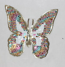 Butterfly Colored Sequins Beaded Applique Patch DIY Craft Sewing 21*23cm 204#
