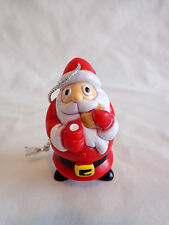 """Santa Claus Christmas Ornament 2"""" Cookies and Milk 2001 Topps Red Plastic"""